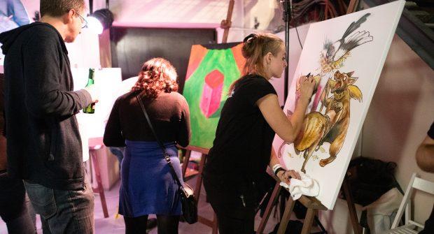 DRAWetc malují na koncertu TI 20 let v MeetFactory | foto: Filip Tondr