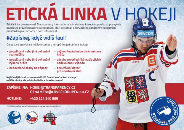 Propagační plakát Etické linky v hokeji | zdroj: ČSLH, TI a Lovec korupčníků