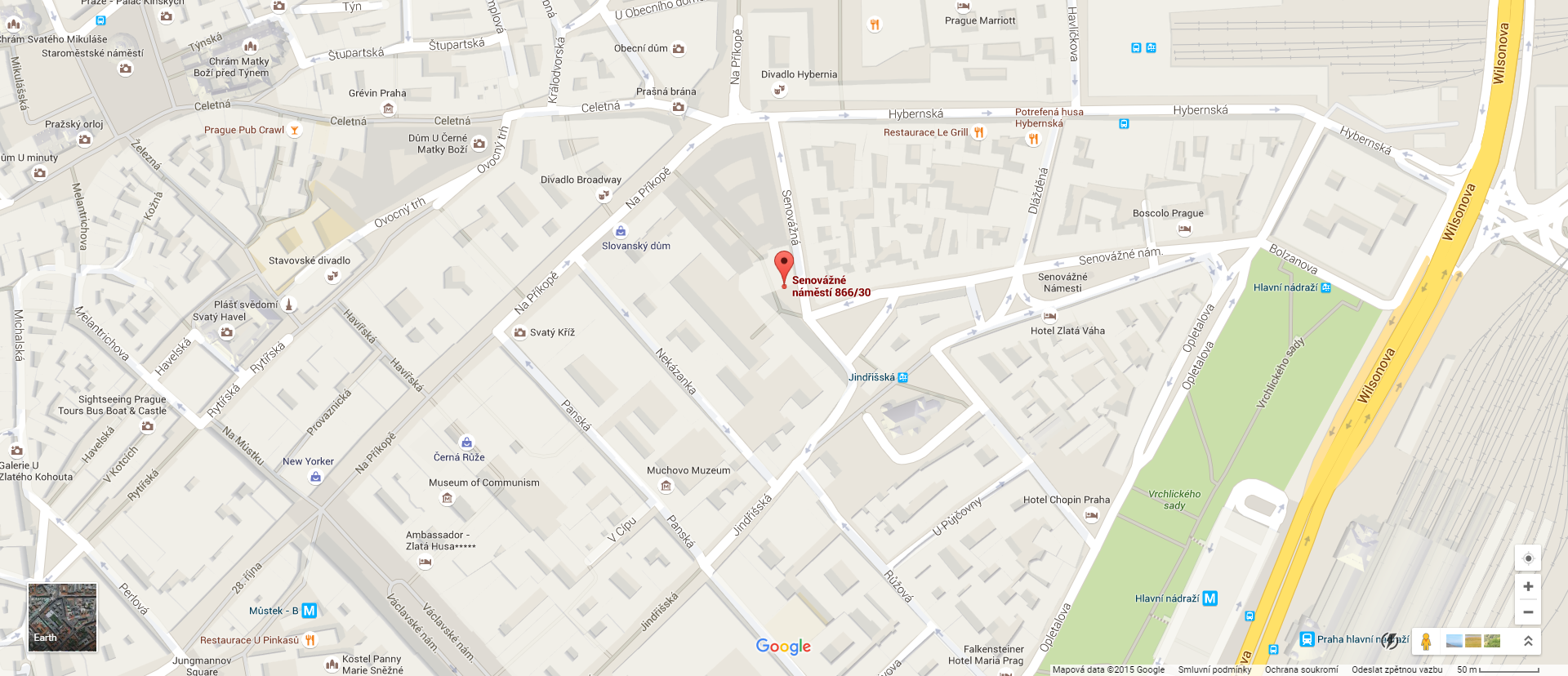 Mapa Google - ČNB