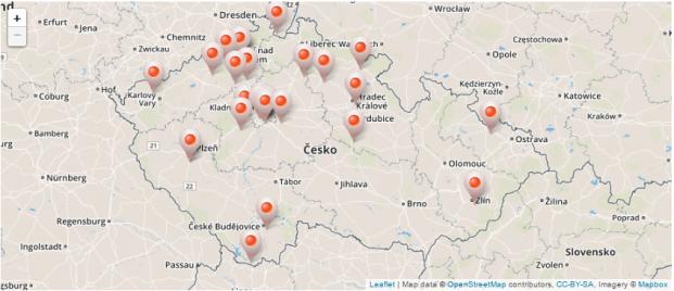 mapa případů